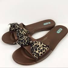 Oka B Madison Leopard Bow Comfort Slide Flats M L