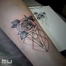 Tetování Růže A Geometrie Tetování Tattoo