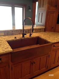 granite prep sink photo copper farm sink with rustic patina and waterstone faucet suite