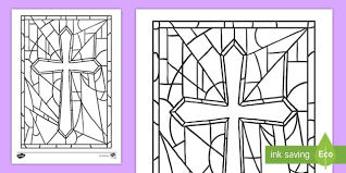 Stained Glass Cross Colouring Page Confession First Communion