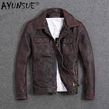 AYUNSUE <b>Genuine Leather</b> Jacket <b>Men Spring Autumn</b> Cowhide ...