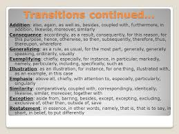 transitions use a transition word to help take the reader from one  2 transitions continued