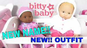 american girl bitty baby gets a new name and bitty baby bella tries on new outfit new announcement