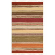 safavieh striped kilim 2 3 x 8 hand woven wool pile rug in green only