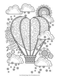 This hot air balloon coloring page will have your little one flying high! Heart Shaped Hot Air Balloon Coloring Pa 1570694 Png Images Pngio