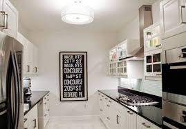Amazing Galley Kitchen With Semi Flush Mount Lighting Gallery