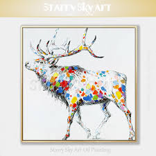 <b>New Arrival Artist Hand painted</b> High Quality Modern Abstract Stag ...