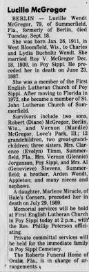 Obituary for Lucille Wendt McGregor (Aged 79) - Newspapers.com