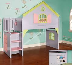 bunk beds with desk for kids white leather office chair flower motif bedding twin loft bed wooden wardrobe