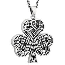mens irish jewelry sterling silver celtic knot shamrock pendant