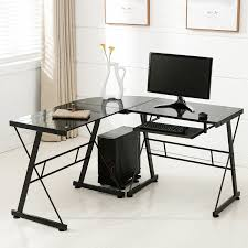 com office more corner l shape computer desk glass laptop table workstation home office furniture black office s