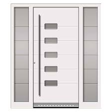 white front door with gl inset