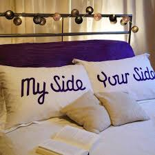 when it comes to double beds we have to set some limits my side and your side pillowcases are a perfect fun addition to any bedroom
