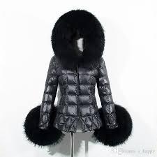 acheter women black quilted puffer jacket las slim fit manteau d hiver chaud faux fur trim hood zip jackets cardigan outwear cjf0909 de 28 95 du e happy