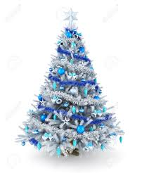 Silver and blue Christmas tree Stock Photo - 34064877