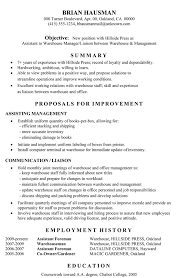Warehouse Resume Examples Delectable Functional Resume Sample Assistant To Warehouse Manager
