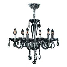 worldwide lighting gatsby 6 light chrome and smoke glass and crystal chandelier w83128c22 sm the home depot