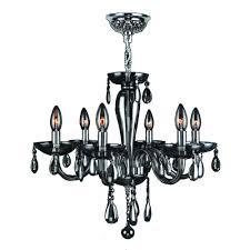 worldwide lighting gatsby 6 light chrome and smoke glass and crystal chandelier