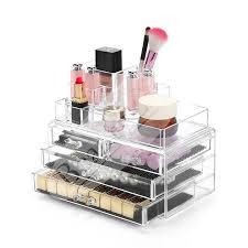 beautyland 4 layers clear acrylic cosmetic storage drawers make up rack jewelry storage display organizer box