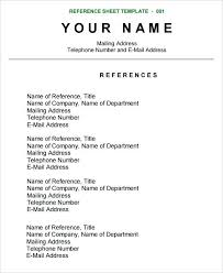 Resume Reference Page Custom Reference Page Templates Canreklonecco
