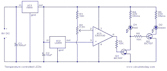 temperature circuit circuit diagram of the temperature sensor temperature circuit temperature controlled leds electronic circuits and diagrams