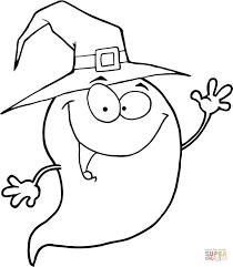 Halloween Spook Draagt Een Heksenhoed Kleurplaat Gratis