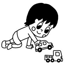 車のおもちゃで遊ぶ子どものイラスト 白黒ヤギさん フリー素材イラスト