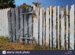 Photograph of a white picket fence with the original paint falling off and  in need of repairs