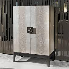 Contemporary Bar Cabinet Walnut Ebony Metal Grandeur