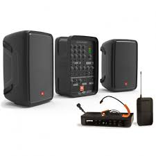 sound system wireless: portable fitness sound system with jbl eonp pa and shure wireless microphone system