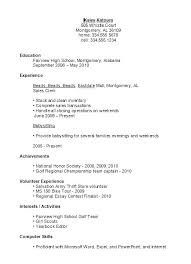 Resume Samples High School College Resume Examples For High School