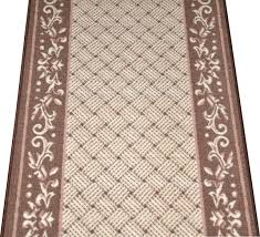 Caramel Scroll Border Carpet Runner Purchase By the Linear Foot