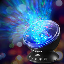 Wave Light Projector Ocean Wave Night Light Projector Ohuhu Remote Control Projection Lamp Rotation Northern Light Projector Mood Light Upgraded 12 Led 7 Colors With