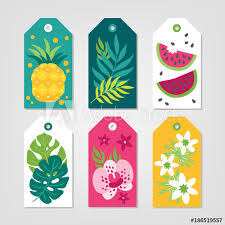 Summer Gift Tags Set Of Summer Gift Tags With Pineapple Palm Leaves