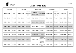 Daily Time Table Howick College Daily Timetable