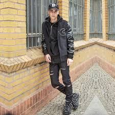 viishow men jacket winter coat casual leather patchwork coats hip hop covered on design hoos jackets mc36264