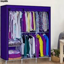 diy portable cloth closet storage organizer wardrobe clothes rack with hanger dark purple color