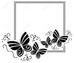 蝶と黒と白のシルエット フレームベクター クリップ アート
