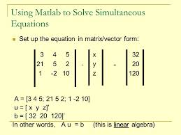 using matlab to solve simultaneous equations