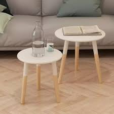 details about small round side tables vintage retro furniture 2 wooden white table end oak leg