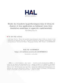 Etude Des Transferts Hygrothermiques Dans Le B Ton De Chanvre Et
