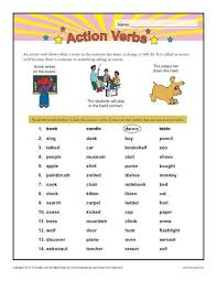 List Of Active Verbs Action Verbs 1st Grade Verb Worksheets