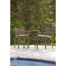 cosco outdoor 3 piece high top bistro lakewood ranch steel woven wicker patio balcony furniture set with cushions brown com