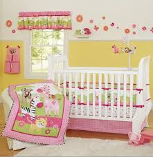 pink zebra giraffe animals girl baby crib bedding set cot kit applique embroidery 3d quilt per fitted sheet dust ruffle kids bedding sets boys