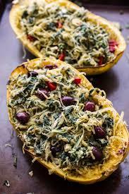 healthy spanakopita stuffed roasted garlic spaghetti squash havarti bowls
