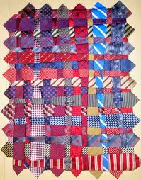 Quilt Inspiration: Necktie quilts for Dad & Renay Martin wove together 56 different blue and red ties together to  create this Memory Tie Quilt, then hand stitched them in place. Adamdwight.com