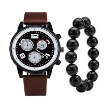 Mens Designer Watch Gift Set Us 10 34 31 Off 3pcs High Quality Mens Quartz Watches 3 Rings Face Vintage Designer Leather Big Watch With Black Agate Bracelet Gift Box Set In