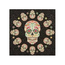 feliz muertos festive sugar skulls wood wall art on damask wood wall art with damask wood wall art zazzle