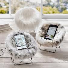 faux fur mini hang a round phone chair