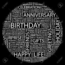 Birthday Word Collage On Black Background Royalty Free Cliparts